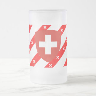 Swiss stripes flag frosted glass beer mug