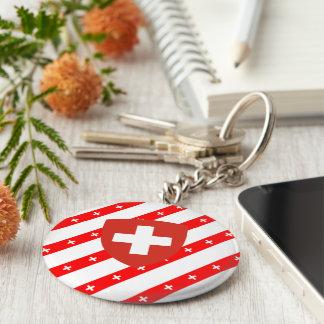 Swiss stripes flag keychain