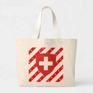 Swiss stripes flag large tote bag