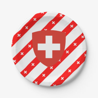 Swiss stripes flag paper plate