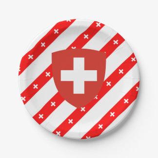 Swiss stripes flag paper plate