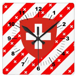 Swiss stripes flag square wall clock