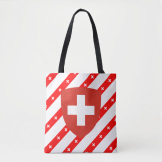 Swiss stripes flag tote bag