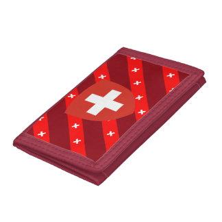 Swiss stripes flag tri-fold wallet