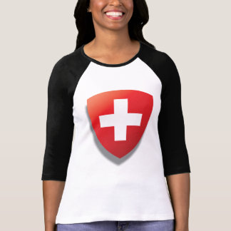 Swiss theme t-shirt. Shield and cartoon T-Shirt