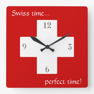 Swiss time! square wall clock