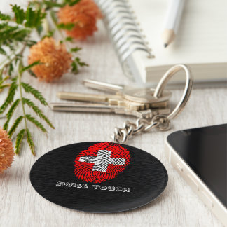 Swiss touch fingerprint flag basic round button keychain