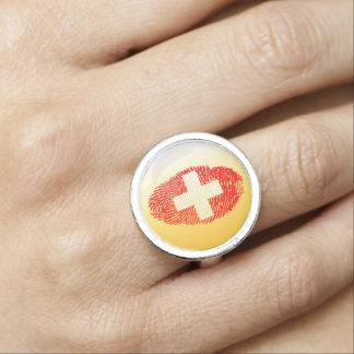 Swiss touch fingerprint flag ring