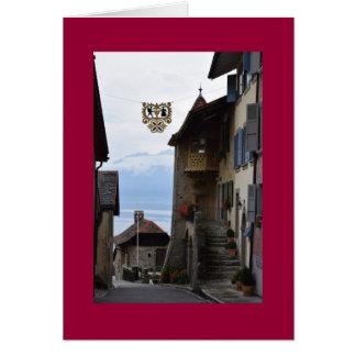 Swiss winemaking village card