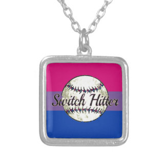 Switch Hitter With Bi Pride Flag Silver Plated Necklace
