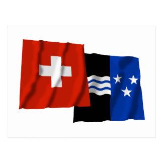 Switzerland & Aargau Waving Flags Postcards