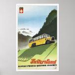 Switzerland Alpine Coaches - Vintage Travel Poster