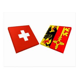 Switzerland and Geneva Flags Postcard