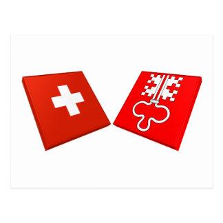 Switzerland and Nidwalden Flags Postcards