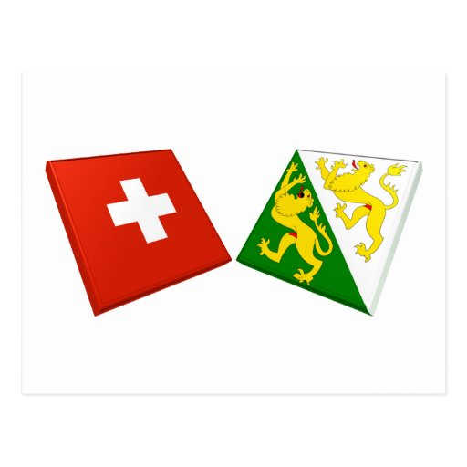Switzerland and Thurgau Flags Post Card