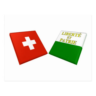 Switzerland and Vaud Flags Postcard