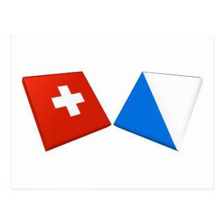 Switzerland and Zurich Flags Postcard