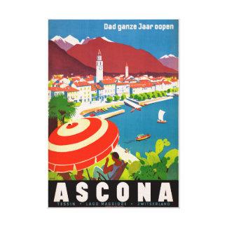 Switzerland Ascona Vintage Travel Poster Restored Canvas Print