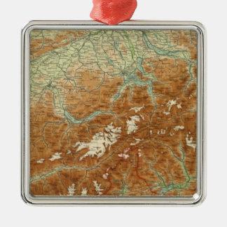 Switzerland Atlas Map Metal Ornament