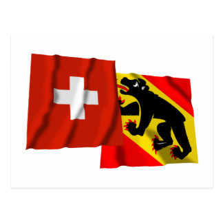 Switzerland & Bern Waving Flags Post Cards