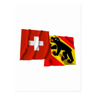 Switzerland & Bern Waving Flags Postcards