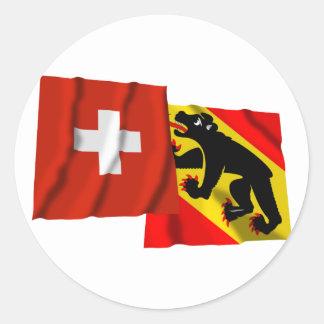 Switzerland & Bern Waving Flags Round Sticker