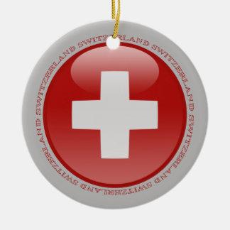 Switzerland Bubble Flag Ceramic Ornament