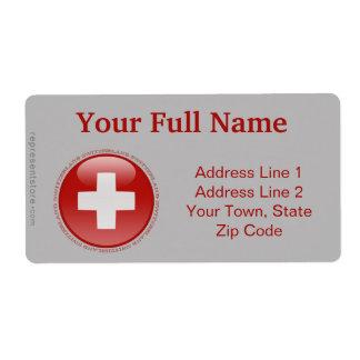 Switzerland Bubble Flag Shipping Label
