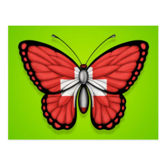 Switzerland Butterfly Flag on Green Post Cards