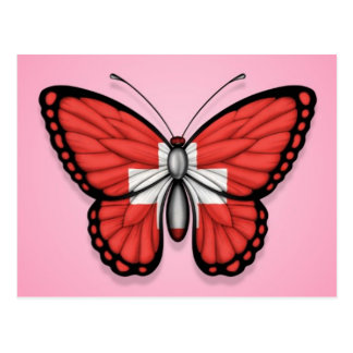 Switzerland Butterfly Flag on Pink Post Card