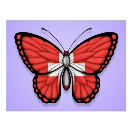 Switzerland Butterfly Flag on Purple Postcards