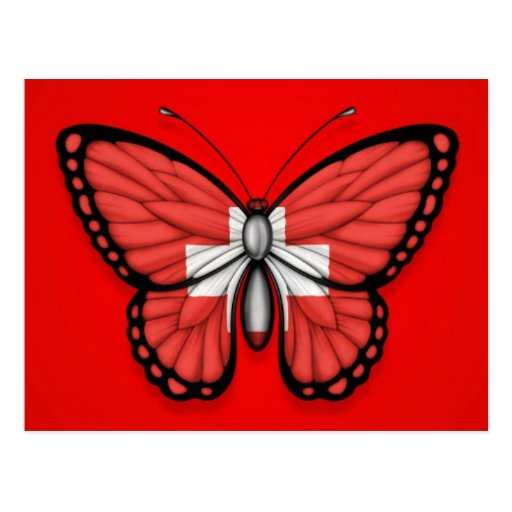 Switzerland Butterfly Flag on Red Post Card