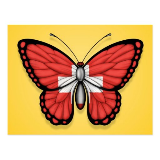 Switzerland Butterfly Flag on Yellow Post Card