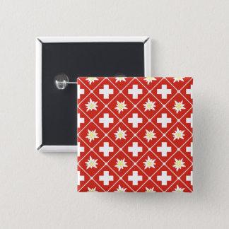 Switzerland Edelweiss pattern 2 Inch Square Button