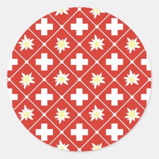 Switzerland Edelweiss pattern Classic Round Sticker