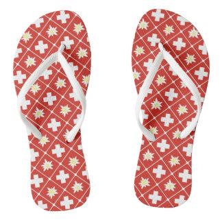 Switzerland Edelweiss pattern Flip Flops