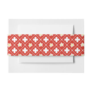 Switzerland Edelweiss pattern Invitation Belly Band