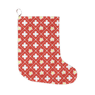 Switzerland Edelweiss pattern Large Christmas Stocking
