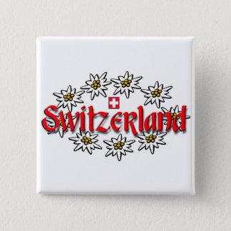 Switzerland Edelweiss Sq Button