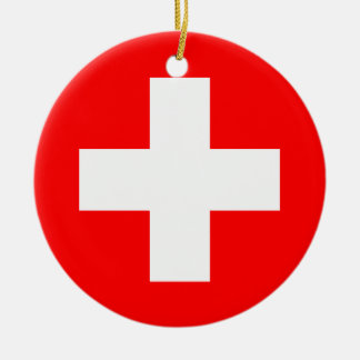 Switzerland Flag Ceramic Ornament