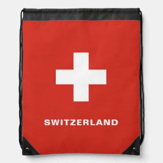 Switzerland Flag Drawstring Backpack