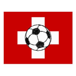 Switzerland Flag Football Ball Post Card