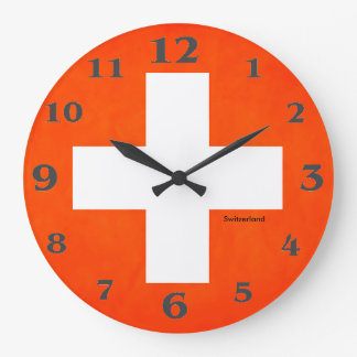 Switzerland flag for Round-Large-Wall-Clock Large Clock