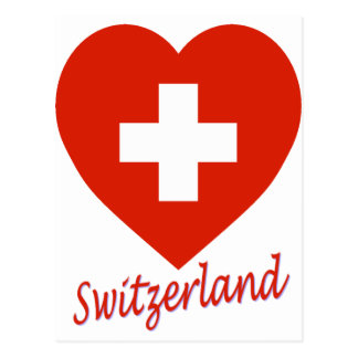 Switzerland Flag Heart Post Cards