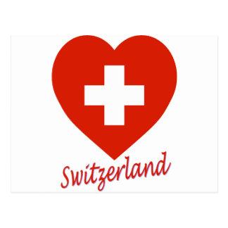Switzerland Flag Heart Postcards