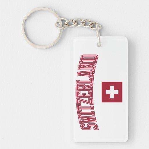 Switzerland + Flag Rectangle Acrylic Keychains