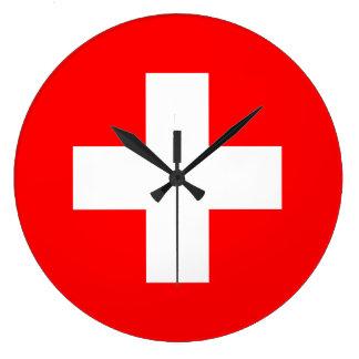 Switzerland Flag Large Clock