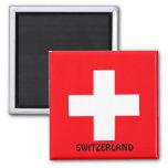 SWITZERLAND: Flag of Switzerland Square Magnet