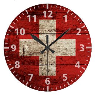 Switzerland Flag on Old Wood Grain Large Clock