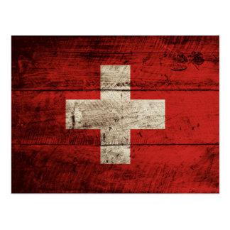 Switzerland Flag on Old Wood Grain Post Card